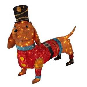 home accents holiday 40 in 150 light tinsel lighted dachshund in soldier uniform ty258 1414