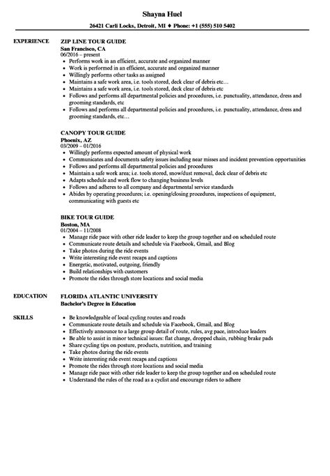 Resume Guide by Resume Sles Tour Guide Tour Guide Cv Template