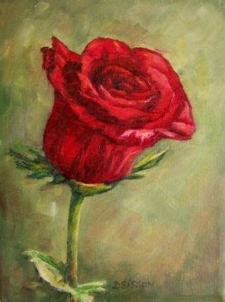 deep red beauty oil painting rose flowers floral art