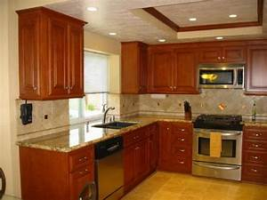 Cherry kitchen cabinets with granite countertops choosing for Kitchen colors with white cabinets with wall art stone