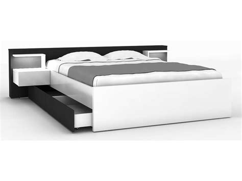 chambre adulte 160x200 lit 160x200 cm 2 chevets tiroir lano coloris blanc et