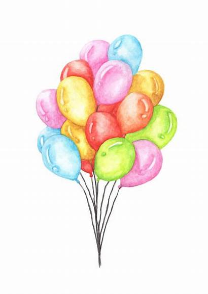 Balloons Bunch Watercolor Clip Vector Illustrations Background