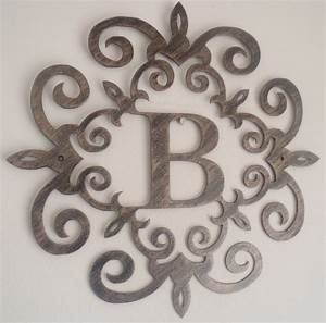family initial monogram inside a metal scroll with b With monogrammed wall art