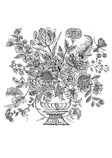 flower vase  mural tile flowers adult coloring pages