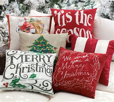 merry christmas sentiment indooroutdoor pillow pottery barn