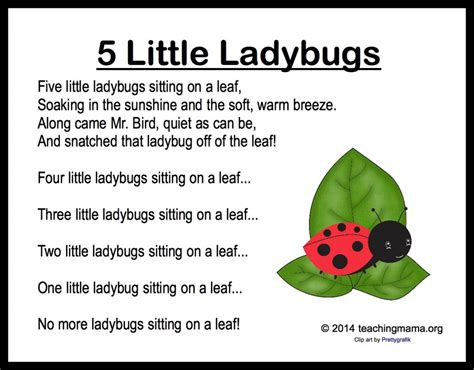 5 ladybugs song and fingerplay 510 | 5 Little Ladybugs 1024x800