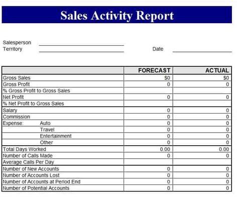 sales revenue report template  formats excel word