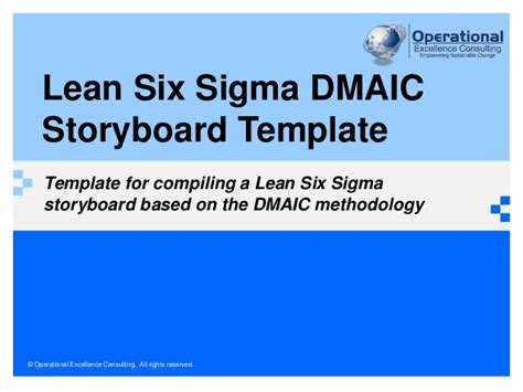 lean  sigma storyboard template  operational