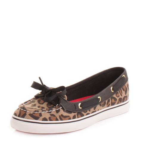 Leopard Boat Shoes by Womens Sperry Top Sider Hailey Leopard Black Canvas Deck