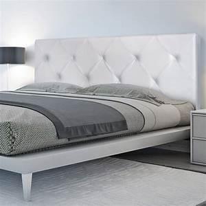 Tete Lit Capitonnée : t te de lit capitonn e pvc blanc 160x58 cm accessoires ~ Premium-room.com Idées de Décoration