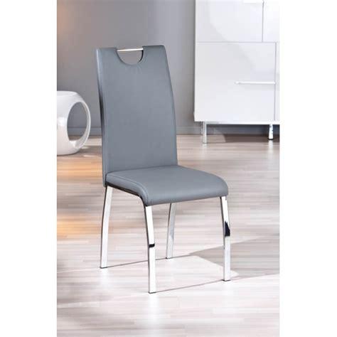 lot de 2 chaises grises modernes utah pieds en chrome