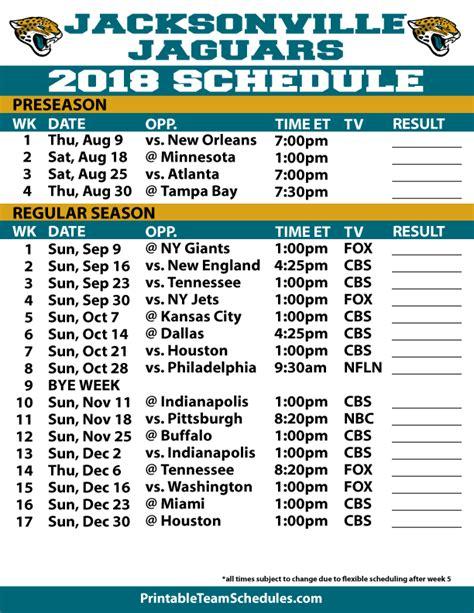 Jacksonville Jaguars 2018 Printable Schedule