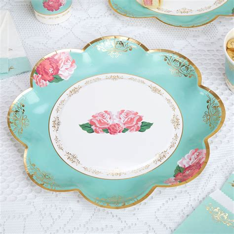 Teller Vintage by 8 X Vintage Style Tea Paper Plates Shabby Chic