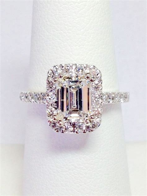 1 00ct diamond emerald cut halo engagement ring anniversary band wedding bands rings diamonds