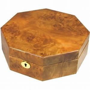 Octagonal Laminated Maple Burl Jewellery Box