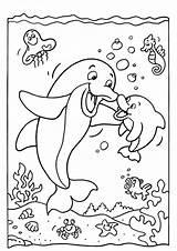 Dolphin Coloring Easy Sea Printable Tulamama Ocean Desenhos Colorare sketch template