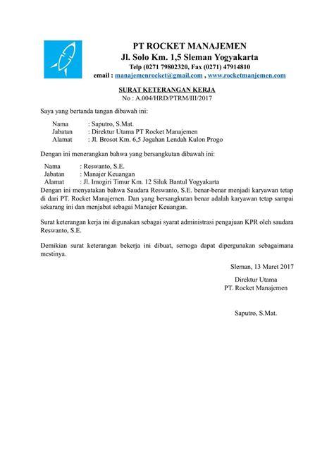 contoh surat keterangan kerja  kpr format