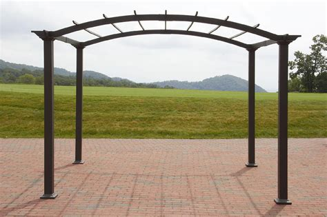 garden oasis 8 x 10 arched steel pergola brown