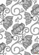 Coloring Pattern Lotus Printable Flower Sheets Patterned Adults Abstract Supercoloring Flowers Categories sketch template