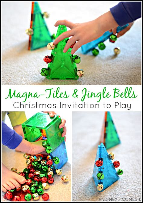 science activities you can do at home this 409 | christmas science magna tiles jingle bells toddler preschool invitation to play