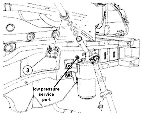 2007 focus locate the ac low pressure service port