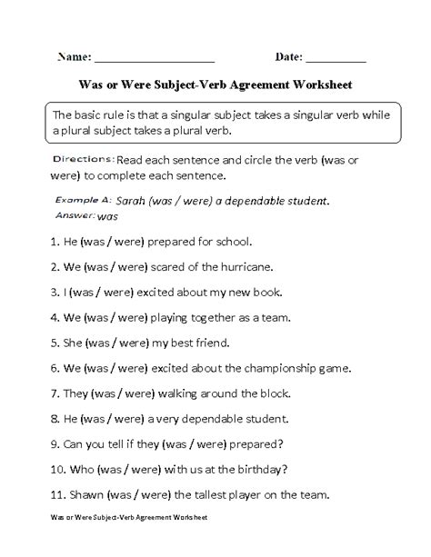 was or were subject verb agreement worksheet englishlinx