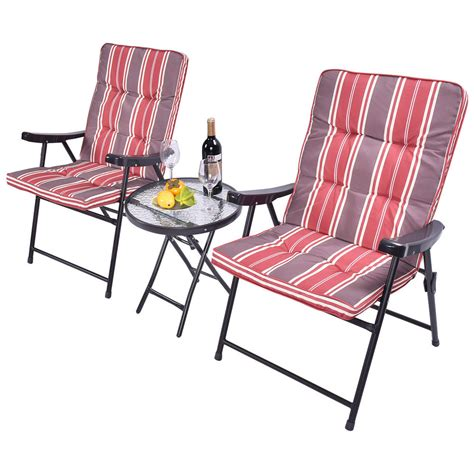 patio 3 pcs outdoor folding chairs table set furniture