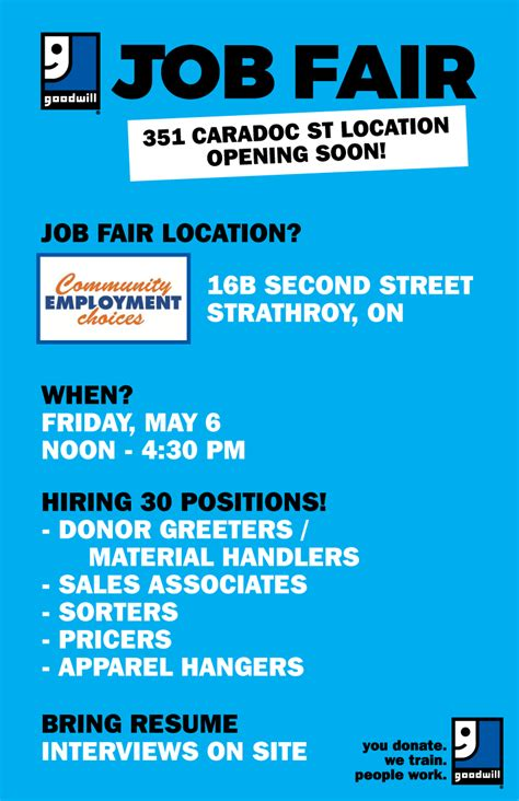 Bring Resume To Second by Strathroy Goodwill Fair On May 6 Goodwill Industries