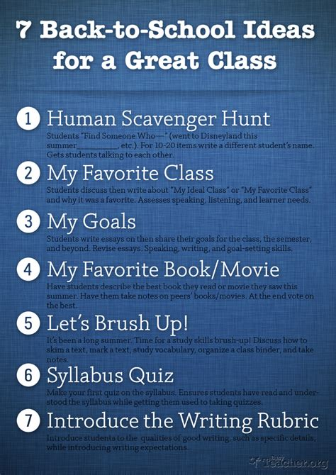 7 back to school and 7 back to school ideas for a great class poster