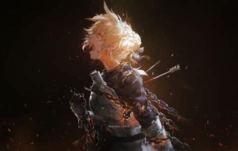 wallpaper girl blood anime tears art armor chain