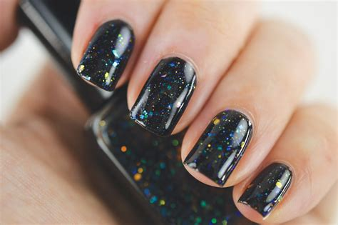 Black Nail Polish With Iridescent Glitter And Shimmer