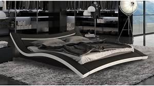 Lit 180x200 Blanc : lit simili cuir noir et blanc avec led 180x200 cm eden gdegdesign ~ Teatrodelosmanantiales.com Idées de Décoration