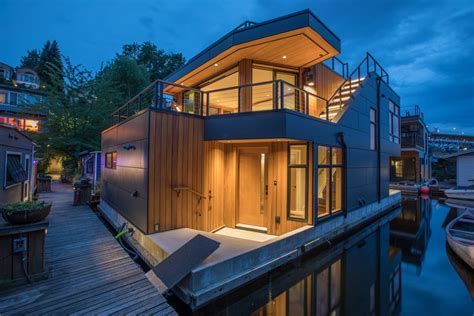 Houseboat Los Angeles by A Sleek Modern Floating Home On Portage Bay Curbed Seattle