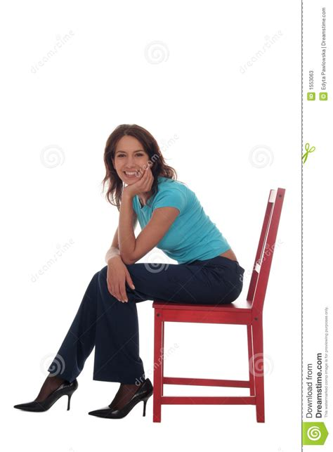 sitting on chair stock image image of pretty