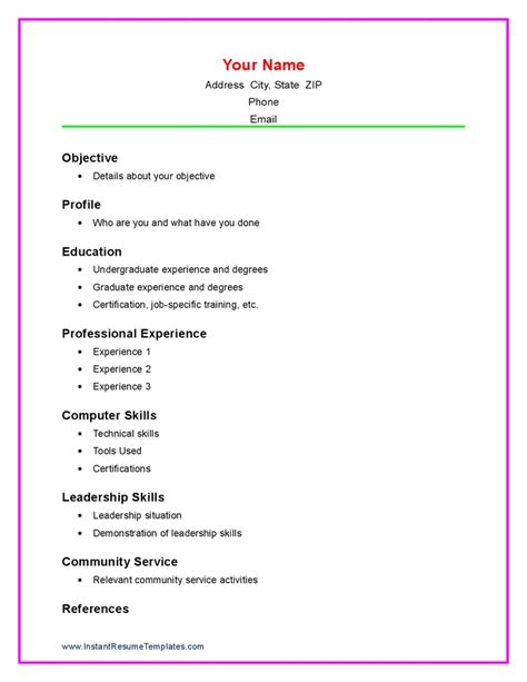 basic resume template for high 28 images simple resume