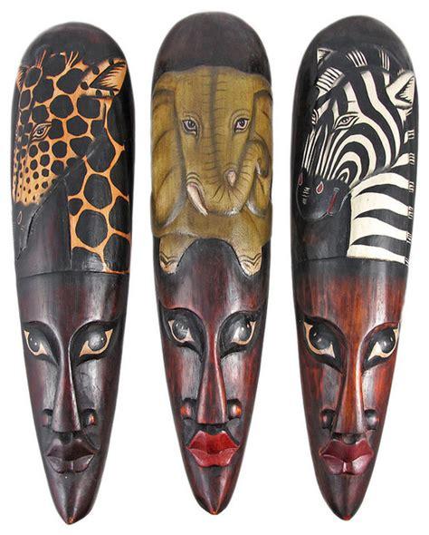 masks wall decor set of 3 wildlife wooden wall masks traditional