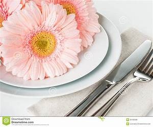Table Setting With Pink Gerberas Royalty Free Stock Image ...