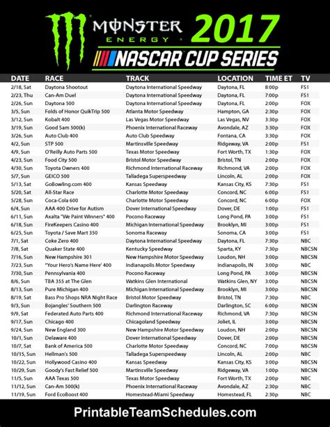 pin printable team schedules nascar racing schedule nascar