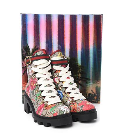 gucci gg supreme monogram flora lace  combat ankle boots