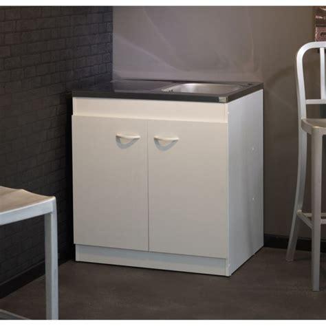meuble cuisine sous evier meuble sous évier cosmos blanc l80 cm achat vente