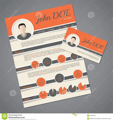 resume cv template with business card stock vector