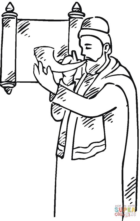 man   shofar  scroll coloring page