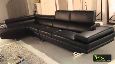 canapé d 39 angle en cuir noir 4 places avec