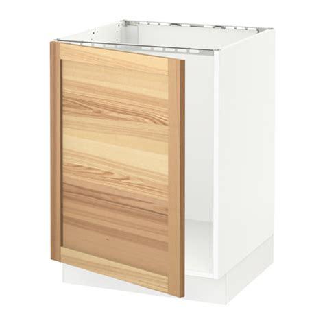 sektion base cabinet for sink white torhamn natural ash