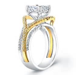 two tone engagement rings 14kt two tone pave engagement ring 0 45 ctw g vs2 evsdesigns jewelry on artfire