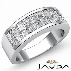 Princess baguette diamond men39s half wedding band in 18k for Mens wedding rings baguette diamonds