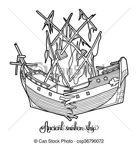 Barco Roto Dibujo by Ship Antiguo Hundido Vector Colorido Gr 225 Fico