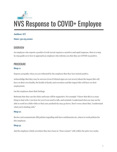 NVS and COVID-19 - Response to Employee Testing Positive