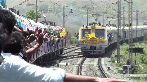 historic indian railways moment local train crosses