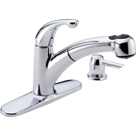 how to remove delta kitchen faucet delta palo single handle pull out sprayer kitchen faucet with soap dispenser in chrome 467 sd